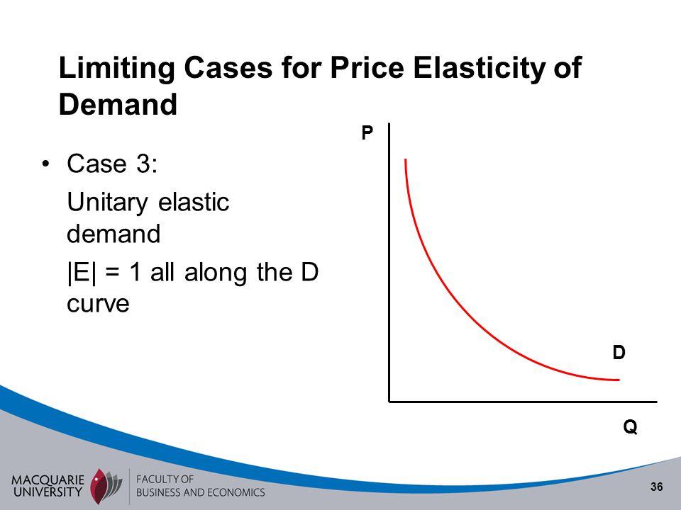 36 Limiting Cases for Price Elasticity of Demand Case 3: Unitary elastic demand |E| = 1 all along the D curve D Q P
