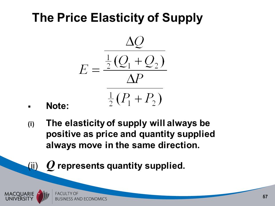 57 Note: (i) The elasticity of supply will always be positive as price and quantity supplied always move in the same direction. (ii) Q represents quan