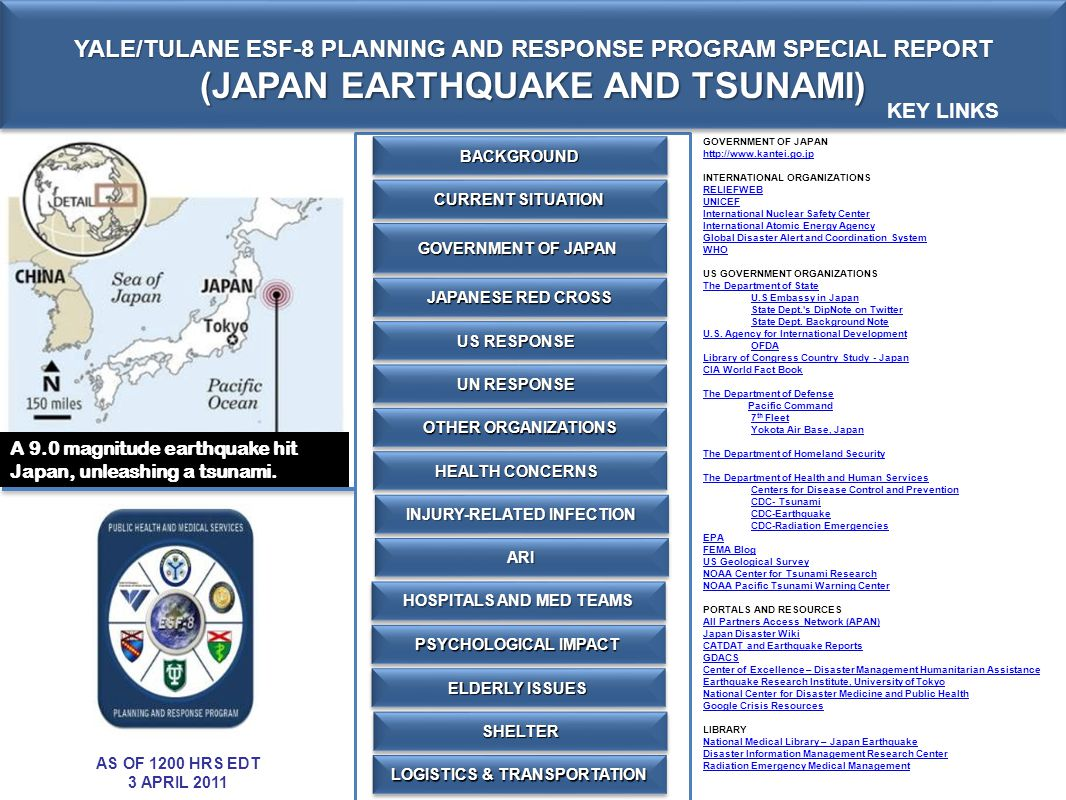JAPAN EARTHQUAKE AND TSUNAMI BACKGROUND EARTHQUAKE AND TSUNAMI On 11 Mar 2011 05:46 UTC, a 9.0 magnitude earthquake struck 400km north-east of Tokyo off the coast of Japan, triggering a tsunami that flattened parts of the northeast coastline.