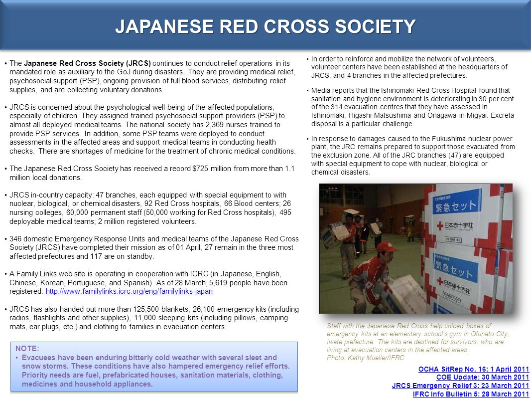 JAPANESE RED CROSS SOCIETY OCHA SitRep No.
