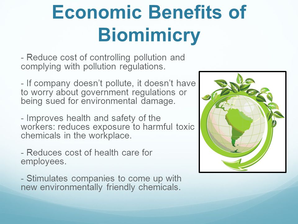Economic Benefits of Biomimicry - Reduce cost of controlling pollution and complying with pollution regulations. - If company doesnt pollute, it doesn