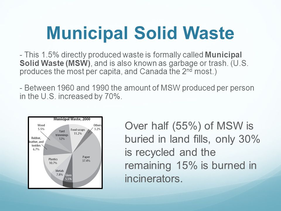 Municipal Solid Waste - This 1.5% directly produced waste is formally called Municipal Solid Waste (MSW), and is also known as garbage or trash. (U.S.