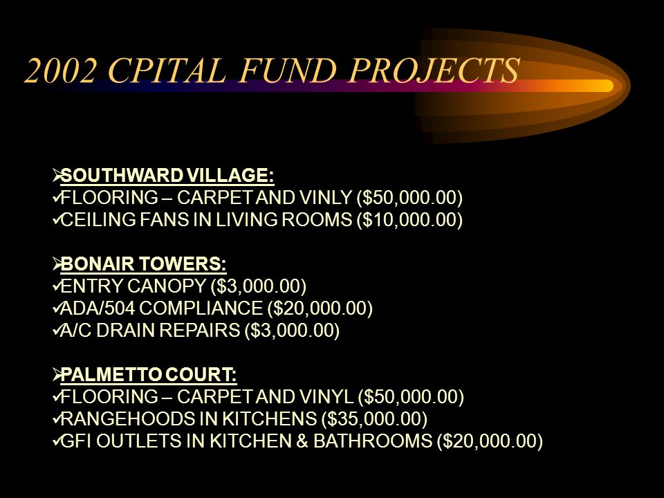 SOUTHWARD VILLAGE: FLOORING – CARPET AND VINLY ($50,000.00) CEILING FANS IN LIVING ROOMS ($10,000.00) BONAIR TOWERS: ENTRY CANOPY ($3,000.00) ADA/504 COMPLIANCE ($20,000.00) A/C DRAIN REPAIRS ($3,000.00) PALMETTO COURT: FLOORING – CARPET AND VINYL ($50,000.00) RANGEHOODS IN KITCHENS ($35,000.00) GFI OUTLETS IN KITCHEN & BATHROOMS ($20,000.00) 2002 CPITAL FUND PROJECTS