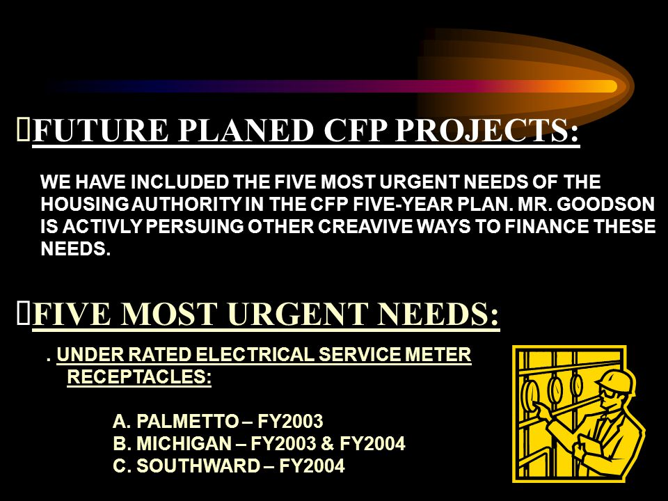 FUTURE PLANED CFP PROJECTS: WE HAVE INCLUDED THE FIVE MOST URGENT NEEDS OF THE HOUSING AUTHORITY IN THE CFP FIVE-YEAR PLAN.