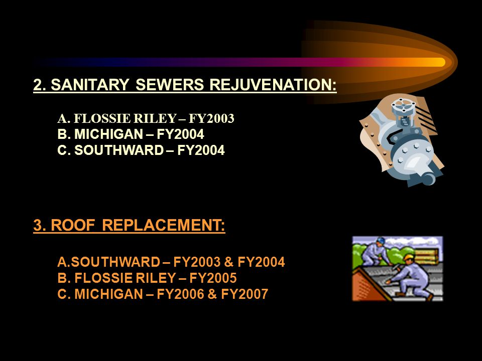 2. SANITARY SEWERS REJUVENATION: A. FLOSSIE RILEY – FY2003 B.
