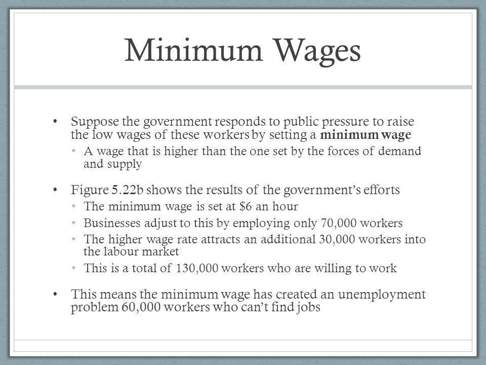 Minimum Wages Suppose the government responds to public pressure to raise the low wages of these workers by setting a minimum wage A wage that is higher than the one set by the forces of demand and supply Figure 5.22b shows the results of the governments efforts The minimum wage is set at $6 an hour Businesses adjust to this by employing only 70,000 workers The higher wage rate attracts an additional 30,000 workers into the labour market This is a total of 130,000 workers who are willing to work This means the minimum wage has created an unemployment problem 60,000 workers who cant find jobs