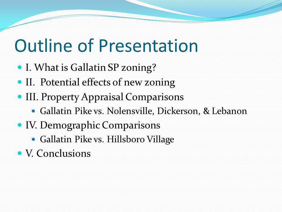 Outline of Presentation I.What is Gallatin SP zoning.