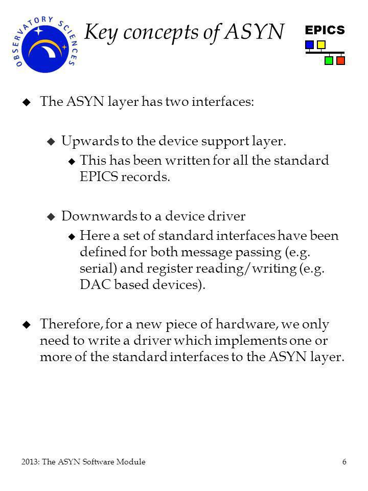 7 2013: The ASYN Software Module EPICS ASYN Architecture Device support (or SNL code, another driver, or non-EPICS software) device Port (named object) Port driver addr=0addr=1 Interfaces (named; Pure Virtual Functions) asynCommon (connect, report, …) asynOctet (write, read, setInputEos,…)