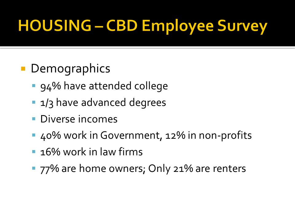Demographics 94% have attended college 1/3 have advanced degrees Diverse incomes 40% work in Government, 12% in non-profits 16% work in law firms 77% are home owners; Only 21% are renters
