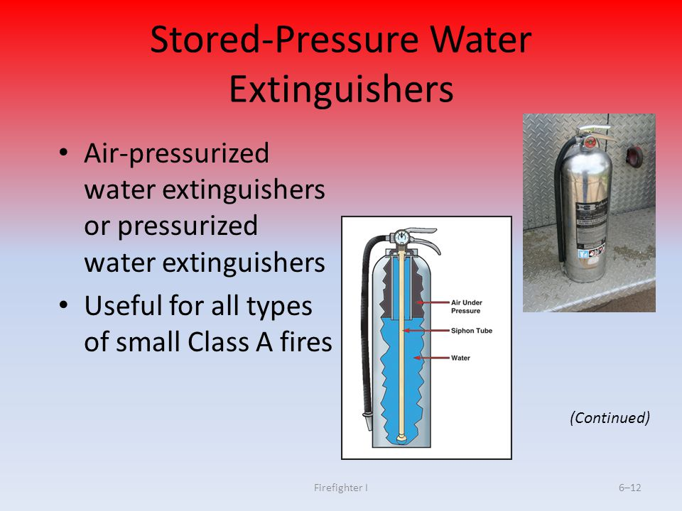 Firefighter I6–12 Stored-Pressure Water Extinguishers Air-pressurized water extinguishers or pressurized water extinguishers Useful for all types of s