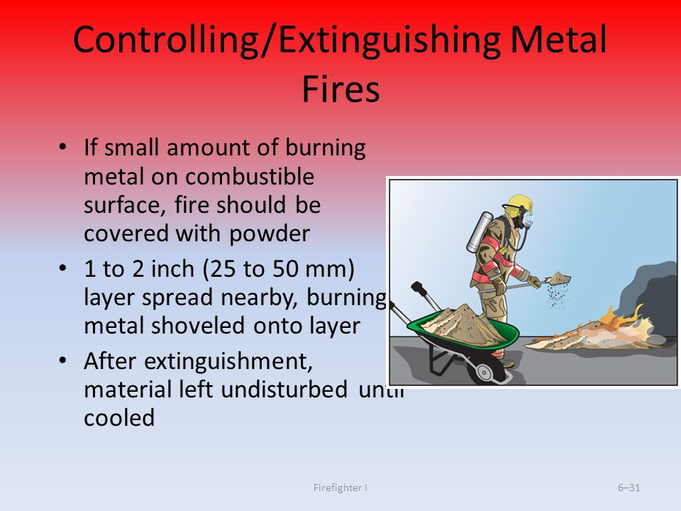 Firefighter I6–31 Controlling/Extinguishing Metal Fires If small amount of burning metal on combustible surface, fire should be covered with powder 1