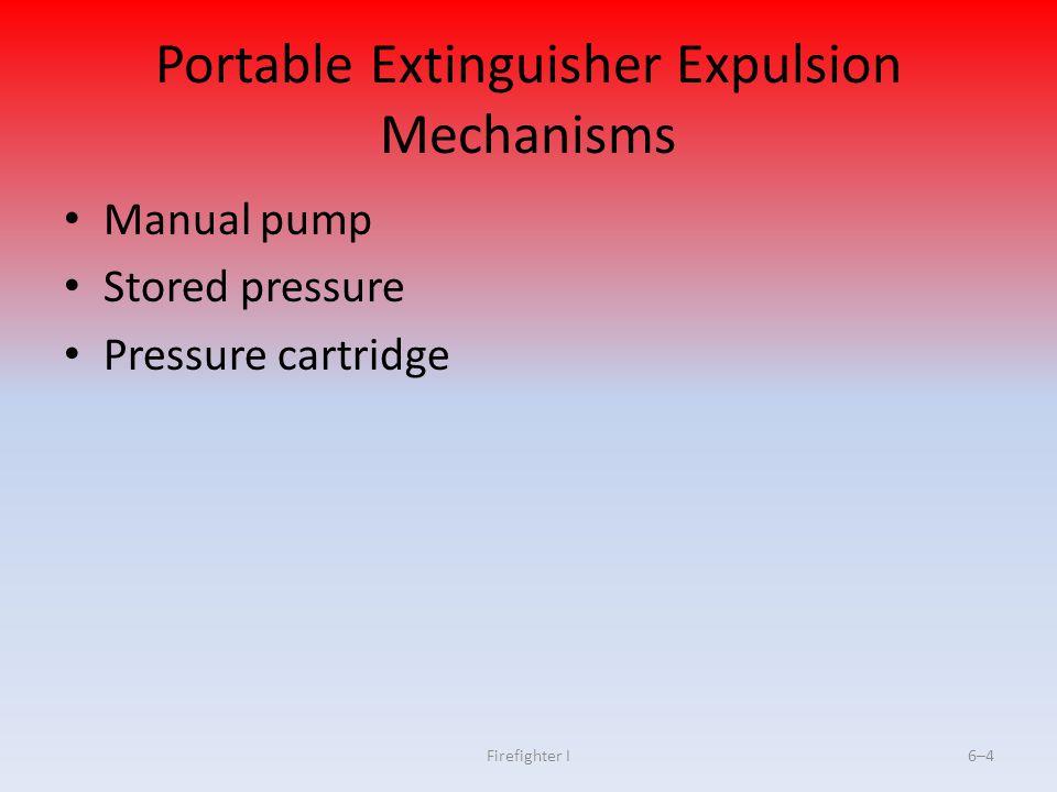Firefighter I6–4 Portable Extinguisher Expulsion Mechanisms Manual pump Stored pressure Pressure cartridge