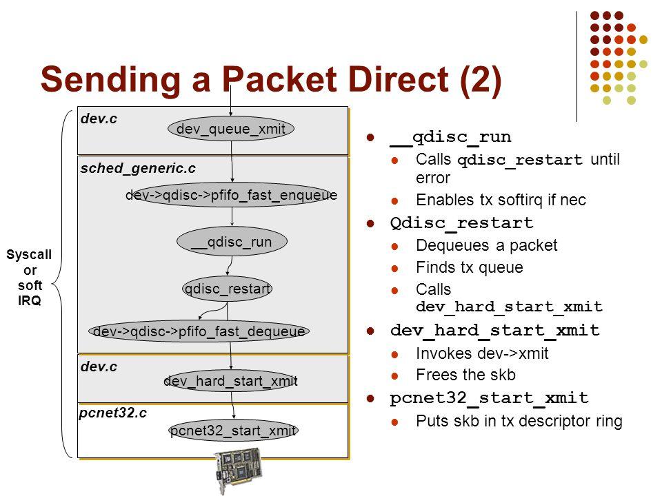 pcnet32.c dev.c sched_generic.c dev->qdisc->pfifo_fast_enqueue pcnet32_start_xmit __qdisc_run qdisc_restart dev->qdisc->pfifo_fast_dequeue dev_queue_xmit dev_hard_start_xmit Sending a Packet Direct (2) __qdisc_run Calls qdisc_restart until error Enables tx softirq if nec Qdisc_restart Dequeues a packet Finds tx queue Calls dev_hard_start_xmit dev_hard_start_xmit Invokes dev->xmit Frees the skb pcnet32_start_xmit Puts skb in tx descriptor ring Syscall or soft IRQ