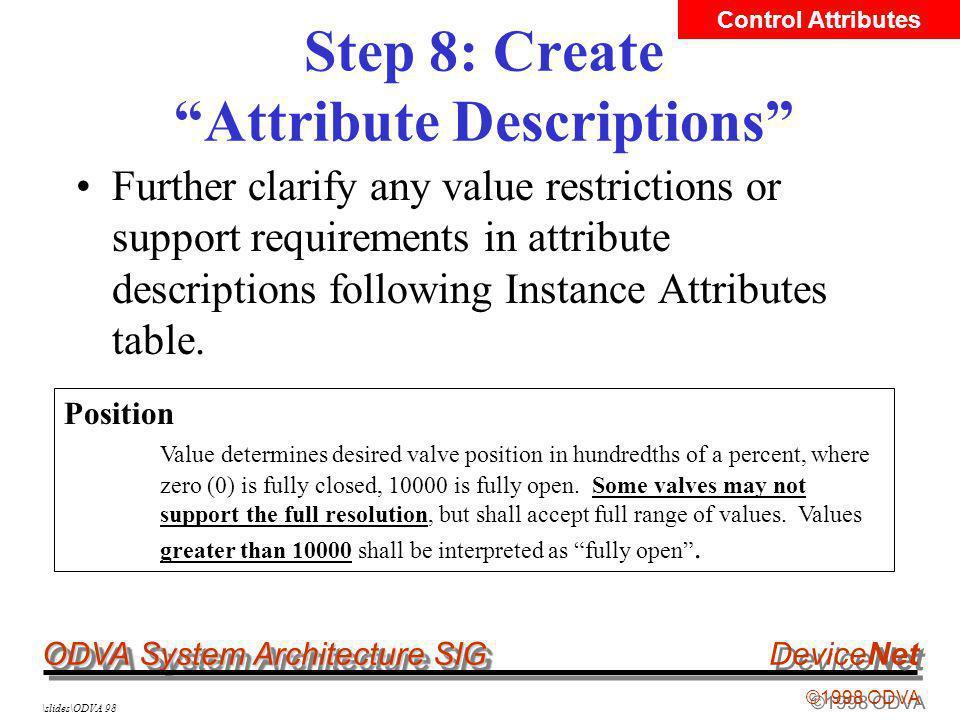 ODVA System Architecture SIG ©1998 ODVA DeviceNet \slides\ODVA 98 Step 8: Create Attribute Descriptions Further clarify any value restrictions or supp