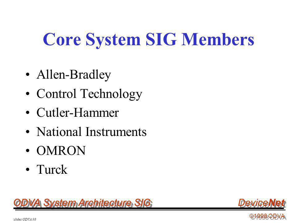 ODVA System Architecture SIG ©1998 ODVA DeviceNet \slides\ODVA 98 Core System SIG Members Allen-Bradley Control Technology Cutler-Hammer National Inst
