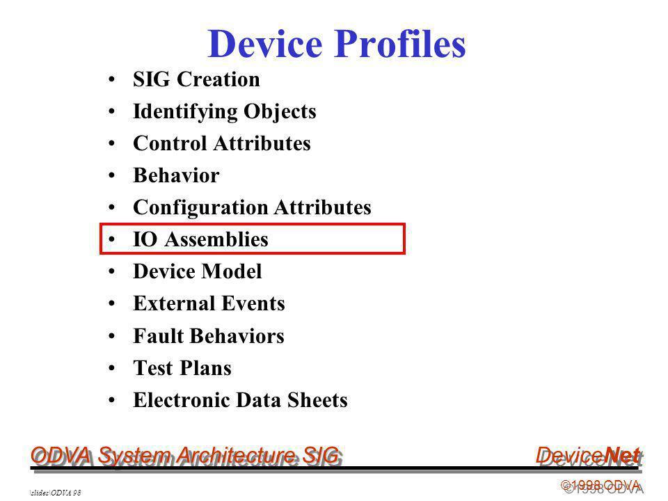 ODVA System Architecture SIG ©1998 ODVA DeviceNet \slides\ODVA 98 Device Profiles SIG Creation Identifying Objects Control Attributes Behavior Configu