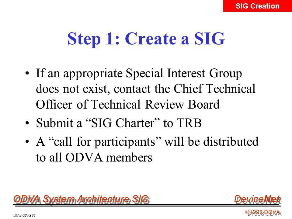 ODVA System Architecture SIG ©1998 ODVA DeviceNet \slides\ODVA 98 Step 1: Create a SIG If an appropriate Special Interest Group does not exist, contact the Chief Technical Officer of Technical Review Board Submit a SIG Charter to TRB A call for participants will be distributed to all ODVA members SIG Creation