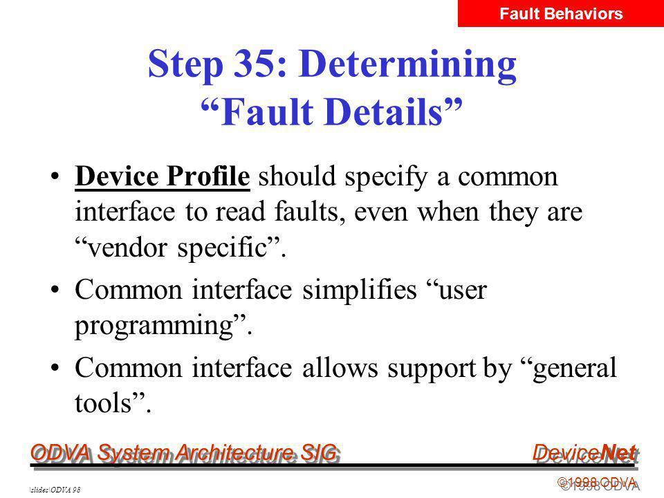 ODVA System Architecture SIG ©1998 ODVA DeviceNet \slides\ODVA 98 Step 35: Determining Fault Details Device Profile should specify a common interface