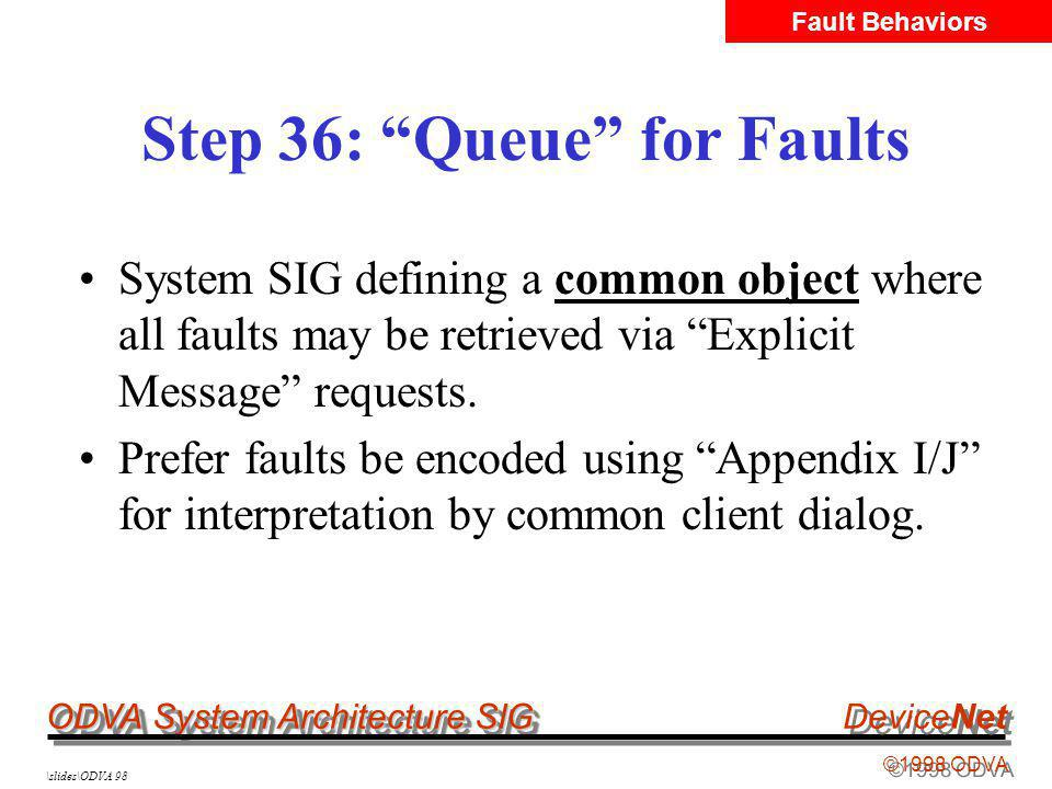 ODVA System Architecture SIG ©1998 ODVA DeviceNet \slides\ODVA 98 Step 36: Queue for Faults System SIG defining a common object where all faults may be retrieved via Explicit Message requests.