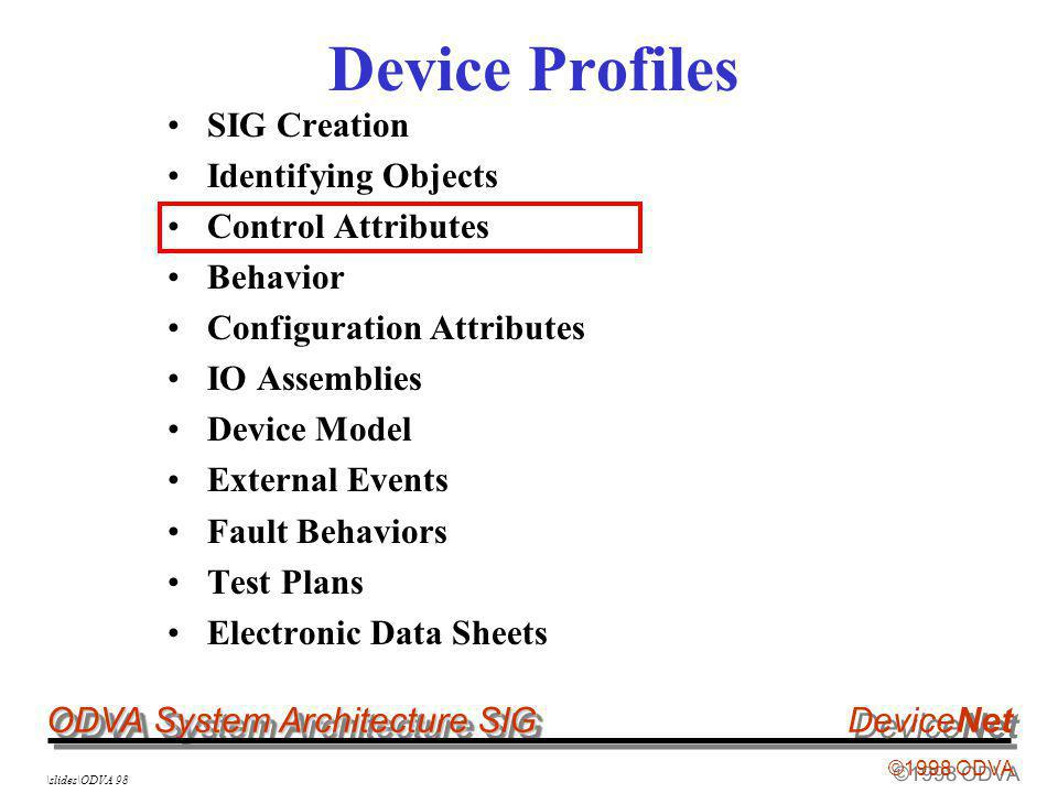 ODVA System Architecture SIG ©1998 ODVA DeviceNet \slides\ODVA 98 Device Profiles SIG Creation Identifying Objects Control Attributes Behavior Configuration Attributes IO Assemblies Device Model External Events Fault Behaviors Test Plans Electronic Data Sheets
