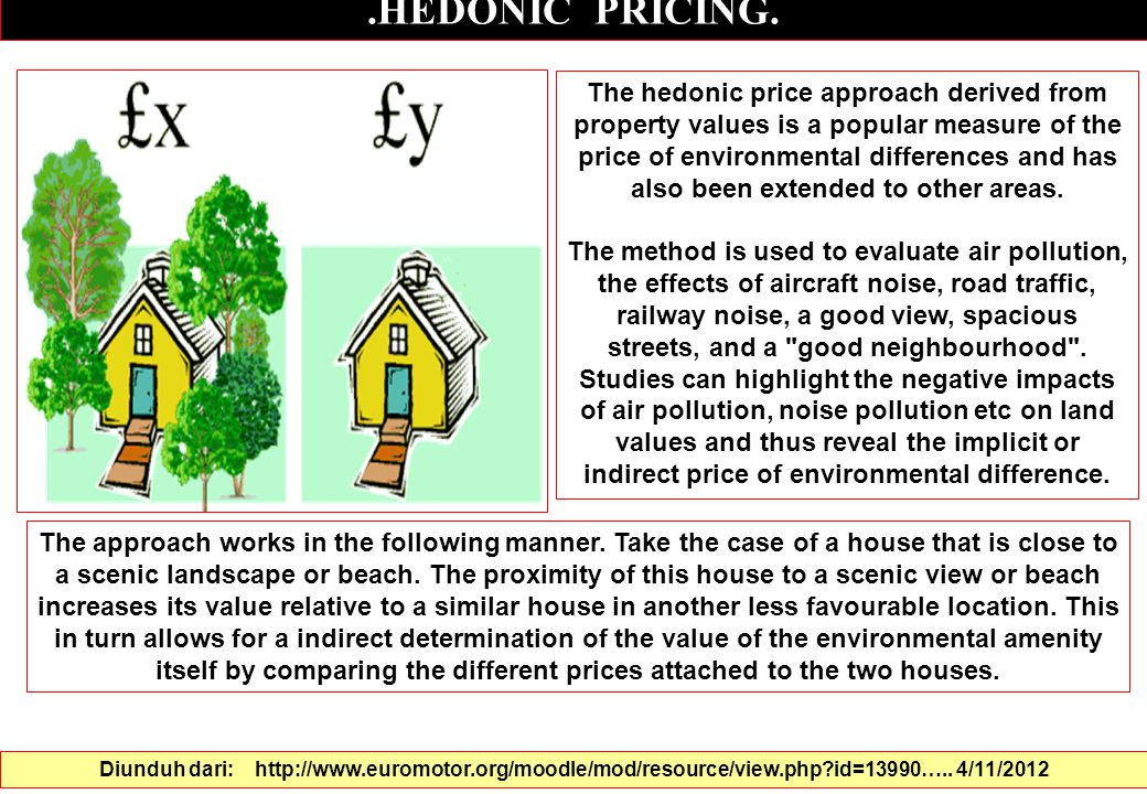 .HEDONIC PRICING. The hedonic price approach derived from property values is a popular measure of the price of environmental differences and has also