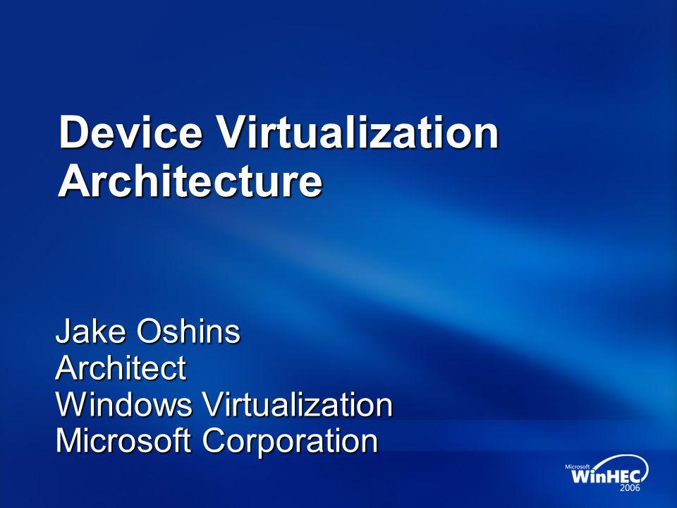 Device Virtualization Architecture Jake Oshins Architect Windows Virtualization Microsoft Corporation