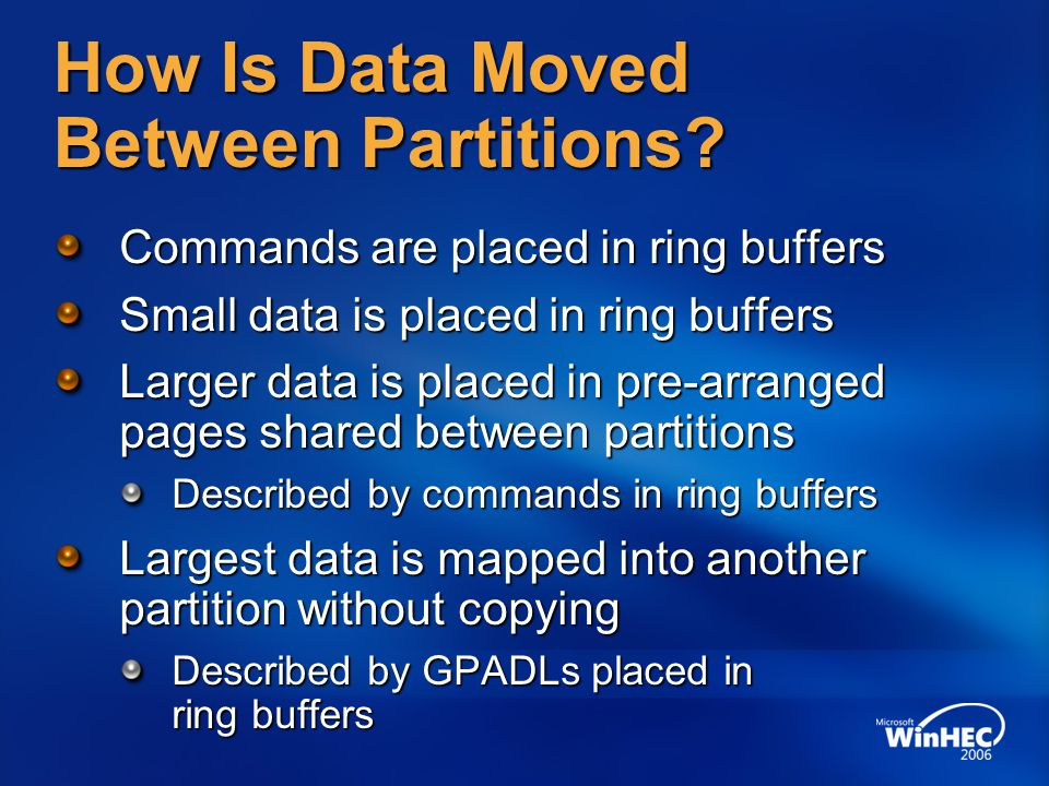 How Is Data Moved Between Partitions? Commands are placed in ring buffers Small data is placed in ring buffers Larger data is placed in pre-arranged p