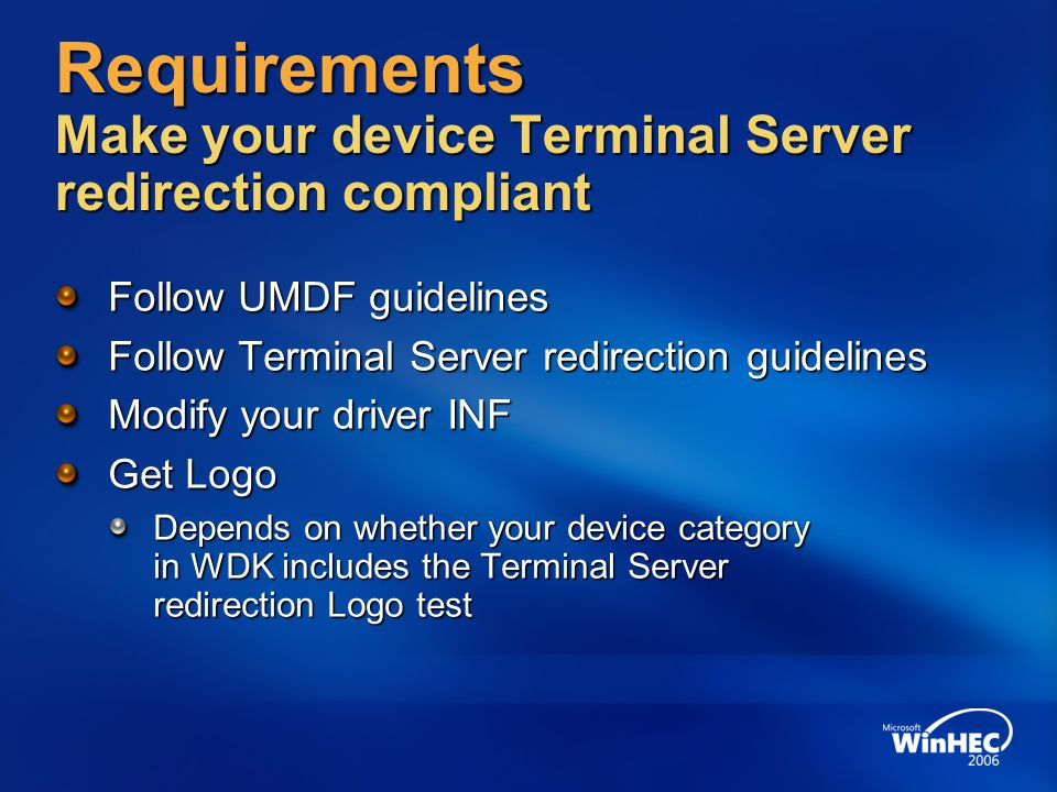 Requirements UMDF guidelines Do use only I/O manager APIs to communicate between driver and application Do not pass kernel objects between driver and application Do not pass data pointers for pre-allocated shared kernel buffers