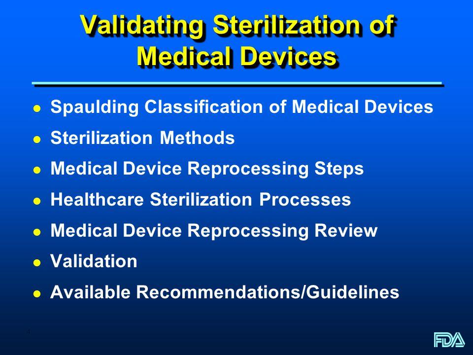 4 Validating Sterilization of Medical Devices l Spaulding Classification of Medical Devices l Sterilization Methods l Medical Device Reprocessing Step