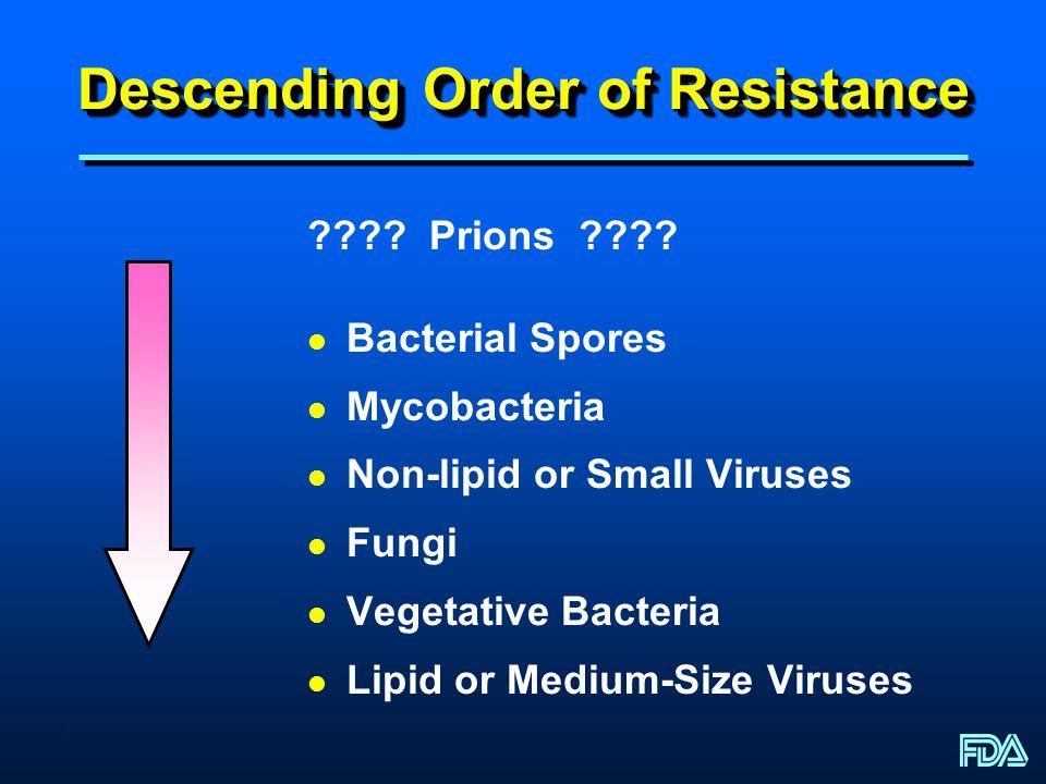 6 Descending Order of Resistance ???? Prions ???? l Bacterial Spores l Mycobacteria l Non-lipid or Small Viruses l Fungi l Vegetative Bacteria l Lipid