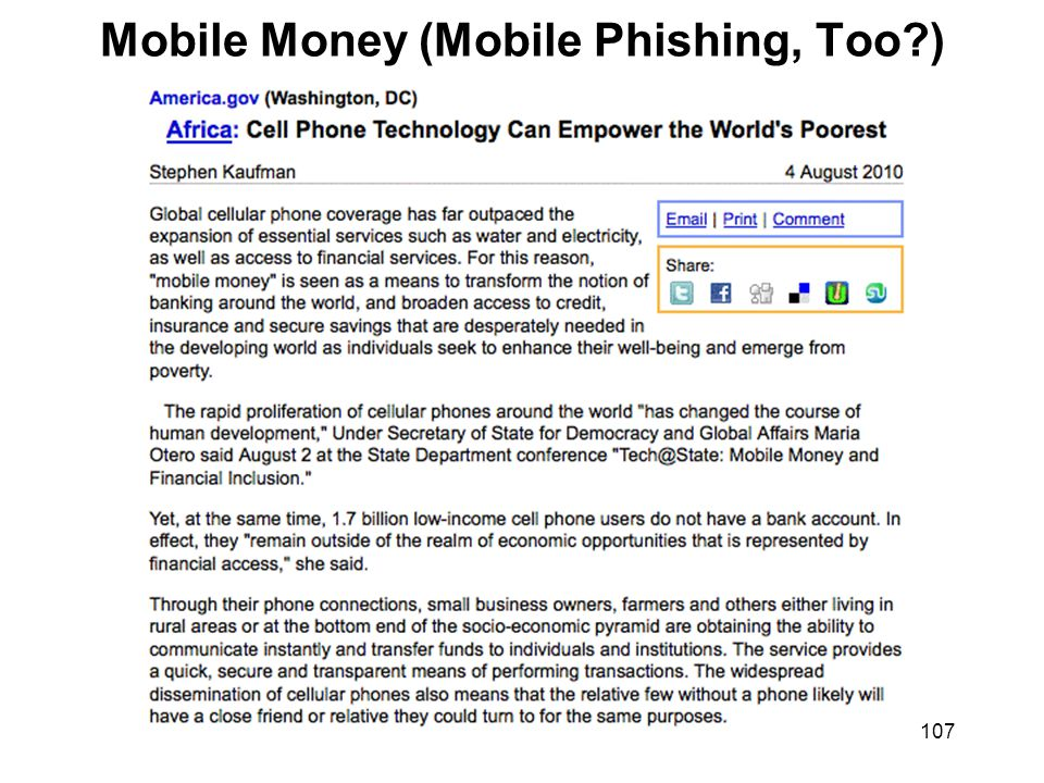 107 Mobile Money (Mobile Phishing, Too )