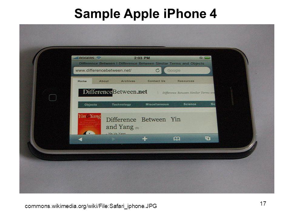 17 Sample Apple iPhone 4 commons.wikimedia.org/wiki/File:Safari_iphone.JPG