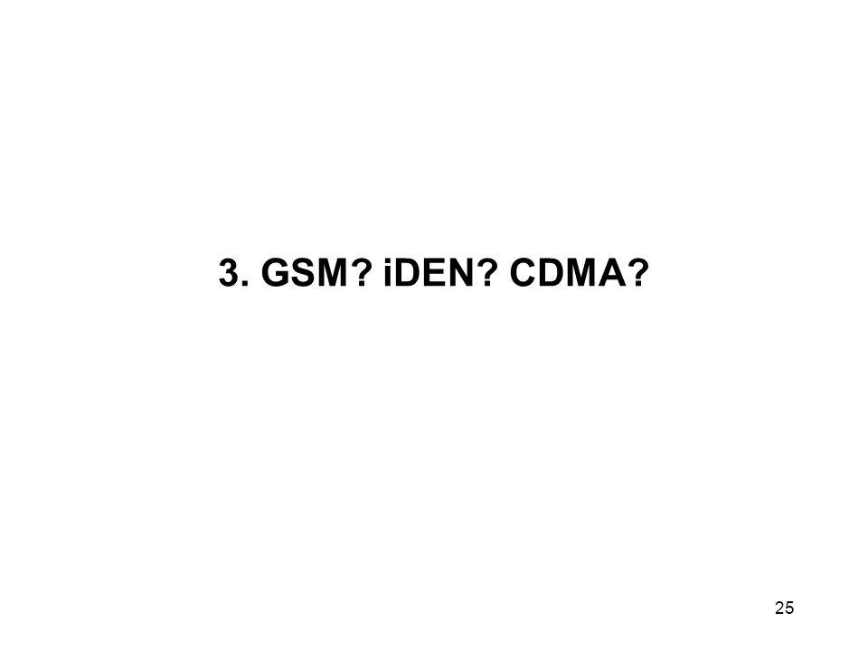 3. GSM? iDEN? CDMA? 25