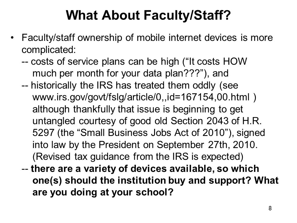 8 What About Faculty/Staff.