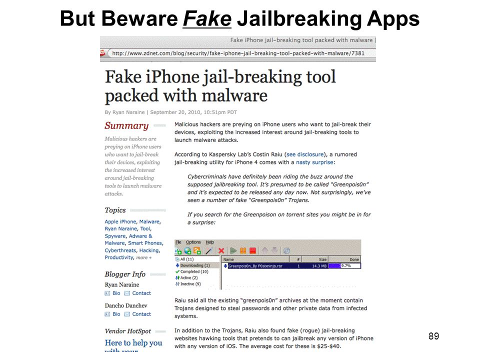 89 But Beware Fake Jailbreaking Apps
