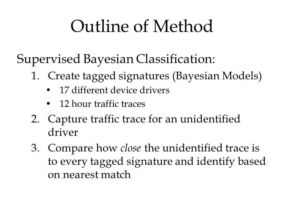 Outline of Method Supervised Bayesian Classification: 1.Create tagged signatures (Bayesian Models) 17 different device drivers 12 hour traffic traces 2.Capture traffic trace for an unidentified driver 3.Compare how close the unidentified trace is to every tagged signature and identify based on nearest match