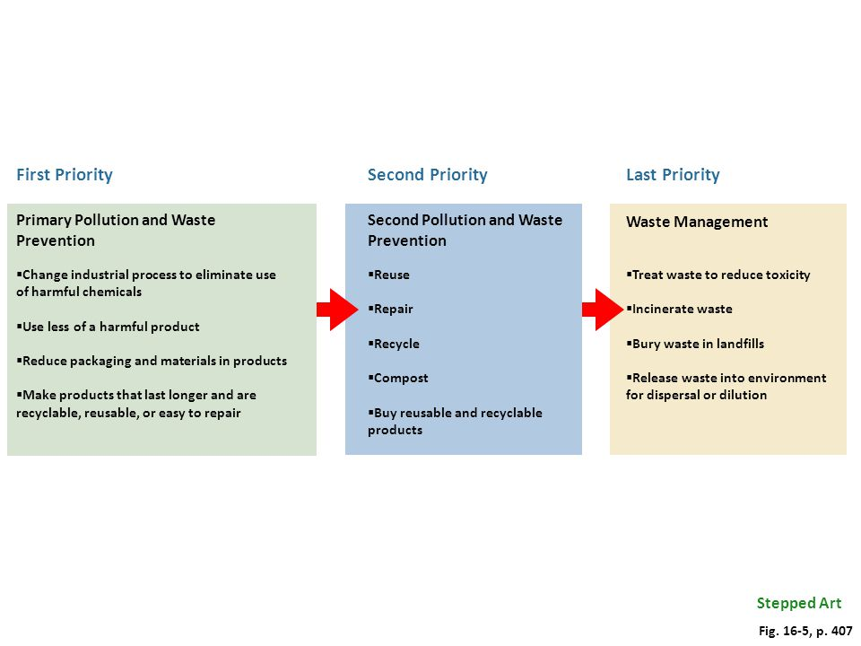 Last Priority Waste Management Treat waste to reduce toxicity Incinerate waste Bury waste in landfills Release waste into environment for dispersal or