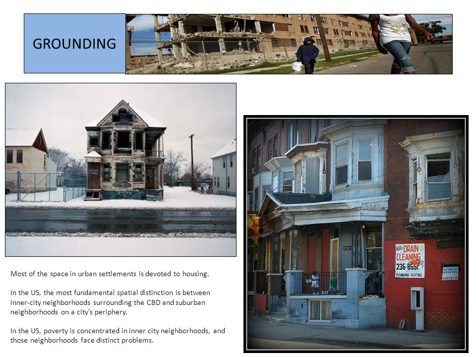 GROUNDING Most of the space in urban settlements is devoted to housing.