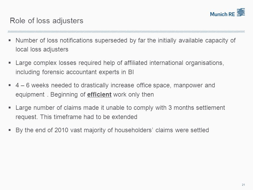 Role of loss adjusters Number of loss notifications superseded by far the initially available capacity of local loss adjusters Large complex losses required help of affiliated international organisations, including forensic accountant experts in BI 4 – 6 weeks needed to drastically increase office space, manpower and equipment.