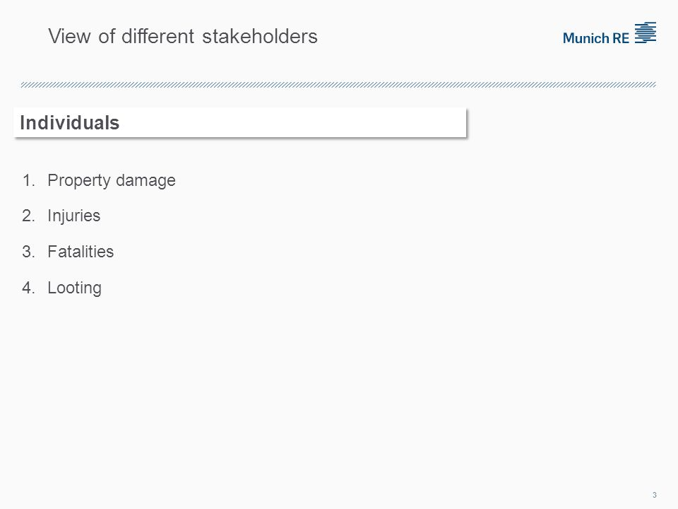 1.Property damage 2.Injuries 3.Fatalities 4.Looting 3 Individuals View of different stakeholders