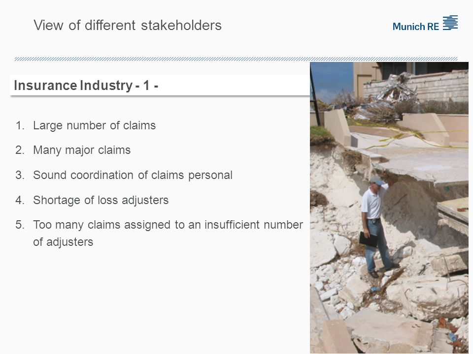 1.Large number of claims 2.Many major claims 3.Sound coordination of claims personal 4.Shortage of loss adjusters 5.Too many claims assigned to an insufficient number of adjusters 4 Insurance Industry - 1 - View of different stakeholders
