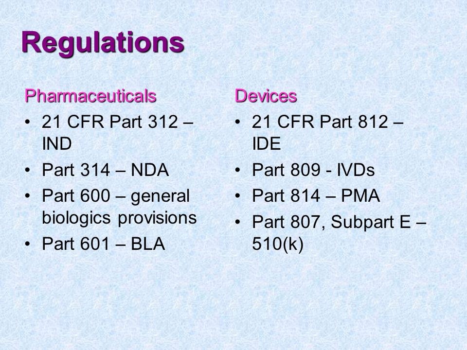 Regulations Pharmaceuticals 21 CFR Part 312 – IND Part 314 – NDA Part 600 – general biologics provisions Part 601 – BLADevices 21 CFR Part 812 – IDE Part 809 - IVDs Part 814 – PMA Part 807, Subpart E – 510(k)
