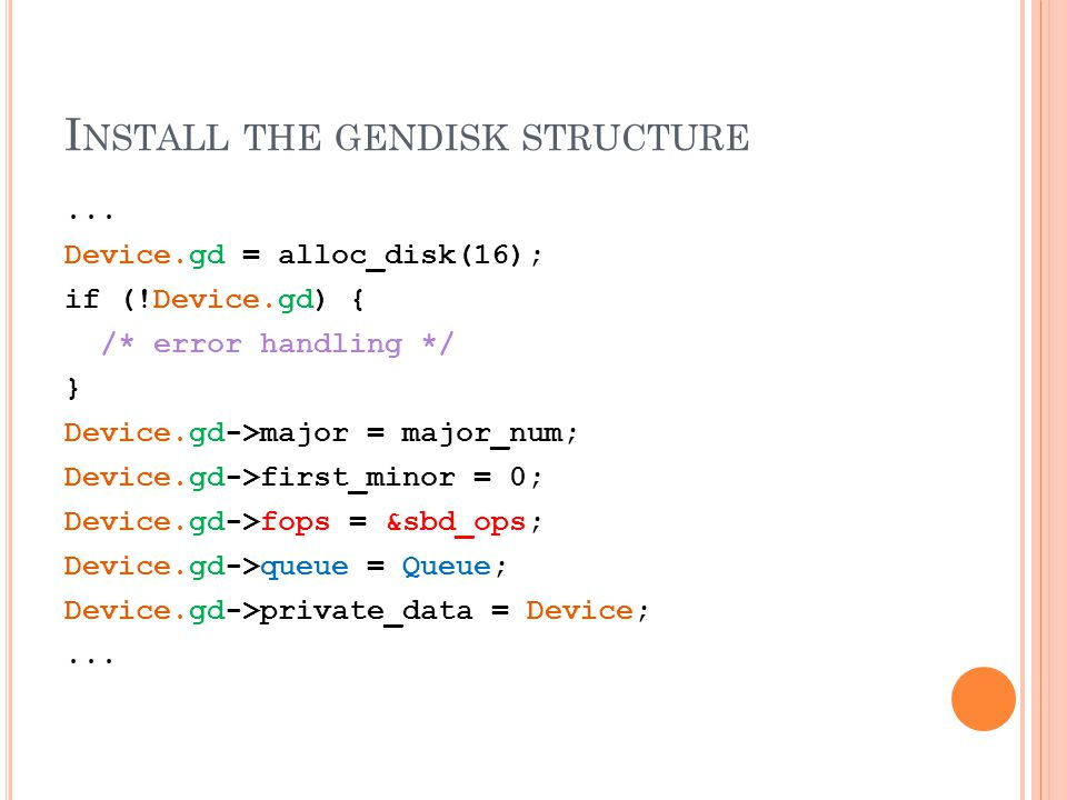 I NSTALL THE GENDISK STRUCTURE...