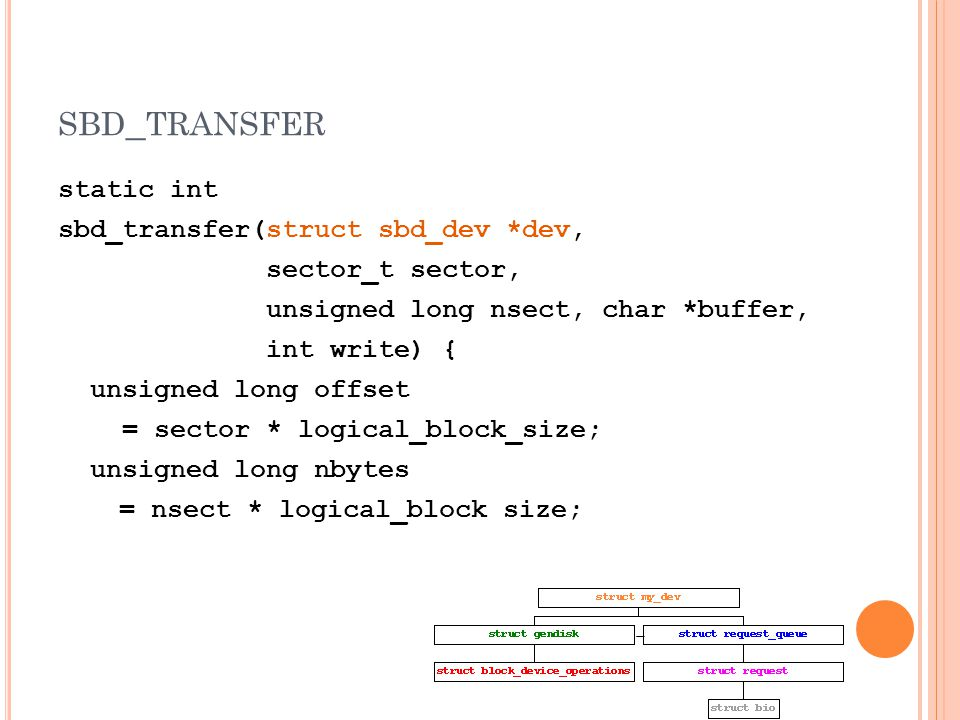 SBD _ TRANSFER static int sbd_transfer(struct sbd_dev *dev, sector_t sector, unsigned long nsect, char *buffer, int write) { unsigned long offset = sector * logical_block_size; unsigned long nbytes = nsect * logical_block size;