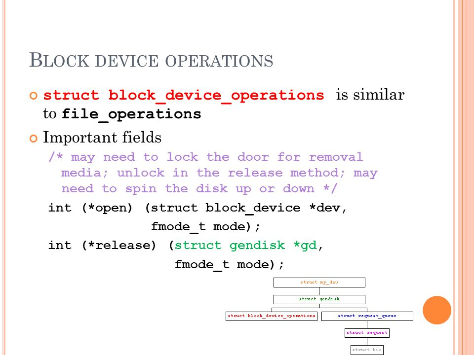 B LOCK DEVICE OPERATIONS struct block_device_operations is similar to file_operations Important fields /* may need to lock the door for removal media; unlock in the release method; may need to spin the disk up or down */ int (*open) (struct block_device *dev, fmode_t mode); int (*release) (struct gendisk *gd, fmode_t mode);