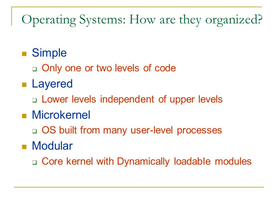 OS Structure - Simple Approach MS-DOS - provides a lot of functionality in little space.