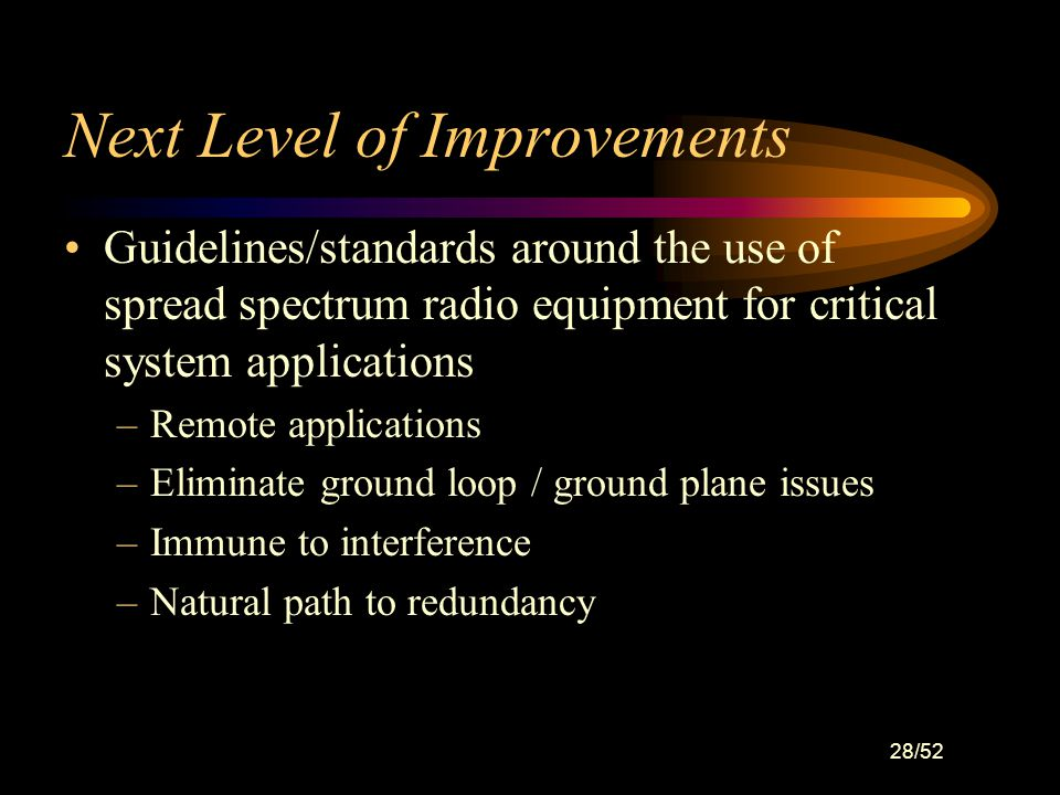 27/52 Next Level of Improvements Improved on-line, self-testing capability of sensors and final elements: –Testing needs to be non-disruptive to proce