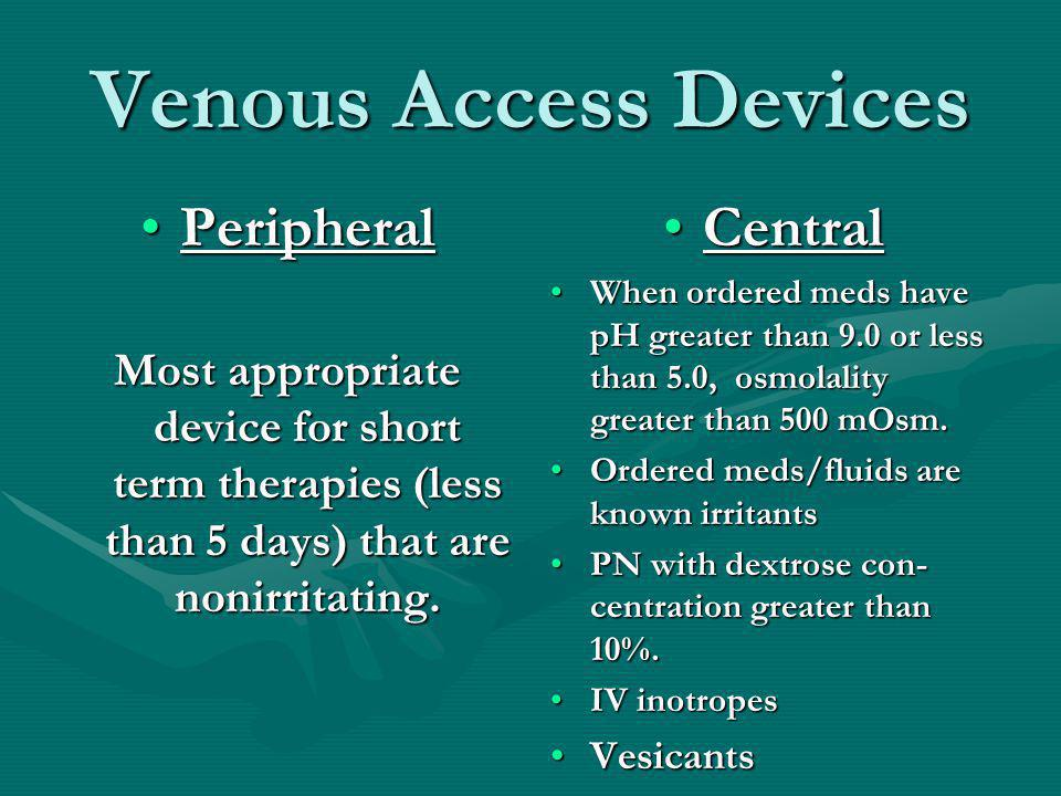 Useful to Know Venous Access is essential.Venous Access is essential.