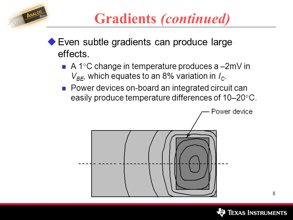 9 Analyzing Gradients For a simplified analysis of gradients: Make the following assumptions of linearity: The gradient is constant over the area of interest.