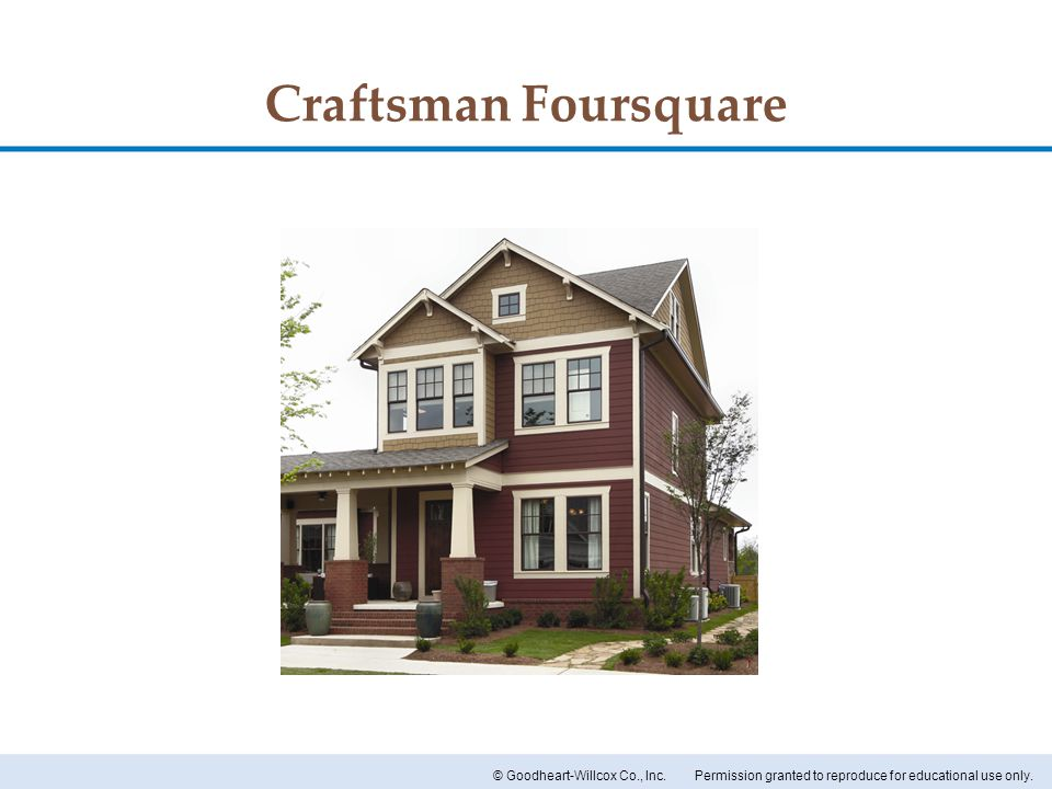 Permission granted to reproduce for educational use only.© Goodheart-Willcox Co., Inc. Craftsman Foursquare